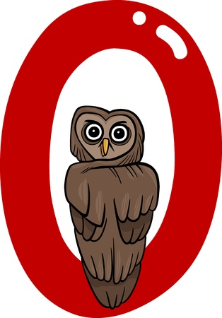 cartoon illustration of O letter for owl Vector