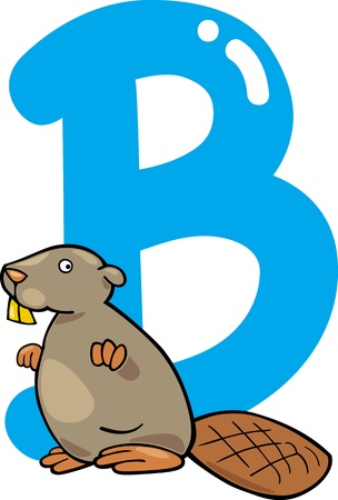 cartoon illustration of B letter for beaver Vector