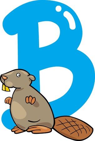 cartoon illustration of B letter for beaver Vector