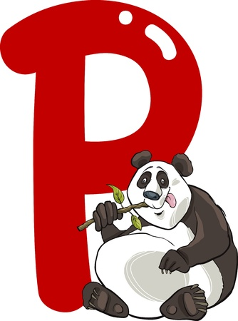 cartoon illustration of P letter for panda Vector