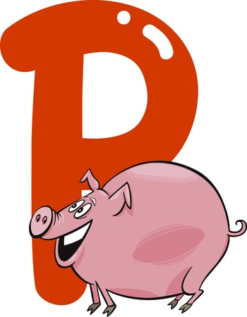 cartoon illustration of P letter for pig Vector