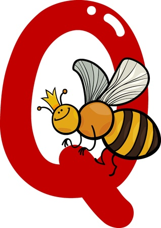 q: cartoon illustration of Q letter for queen bee