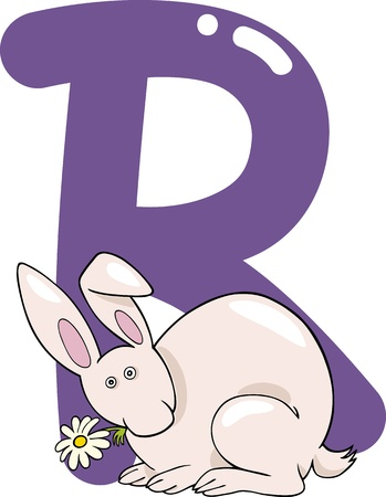cartoon illustration of R letter for rabbit Vector