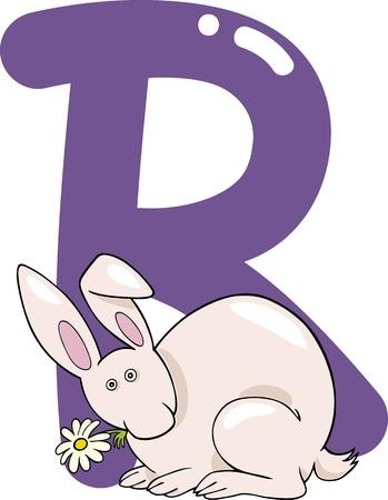 kids abc: ilustraci�n de dibujos animados de la letra R para el conejo