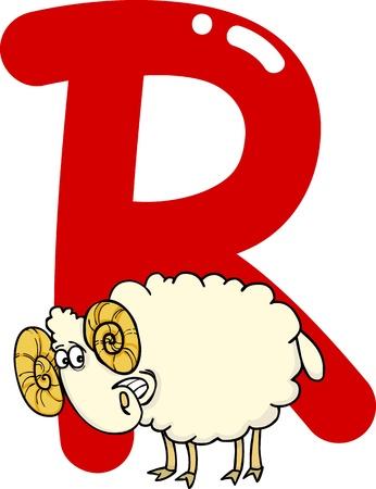 cartoon illustration of R letter for ram Vector