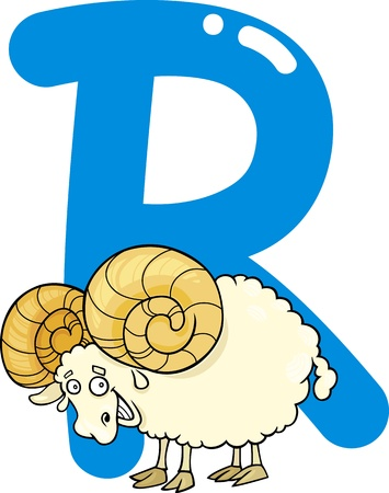 abc book: cartoon illustration of R letter for ram Illustration