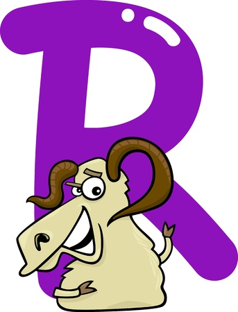 rams horns: cartoon illustration of R letter for ram Illustration