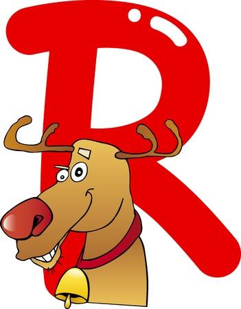 cartoon illustration of R letter for reindeer Vector
