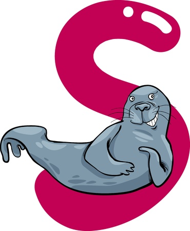 cartoon illustration of S letter for seal Vector