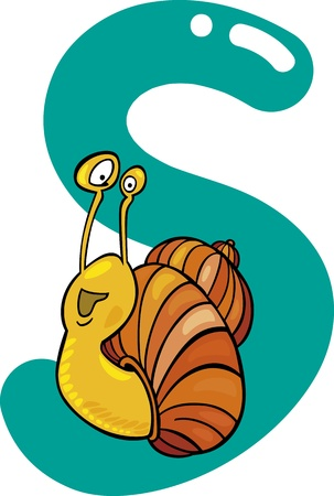kid s: cartoon illustration of S letter for snail Illustration