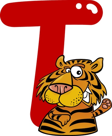 cartoon illustration of T letter for tiger Vector