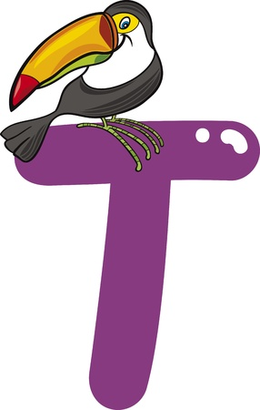 cartoon illustration of T letter for toucan Vector