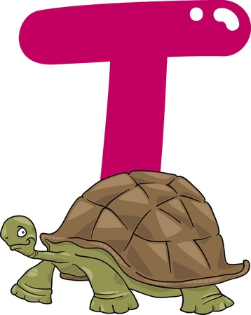 cartoon illustration of T letter for turtle Vector
