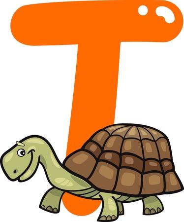 spelling book: cartoon illustration of T letter for turtle