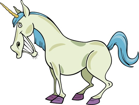 cartoon illustration of funny fantasy unicorn Vector
