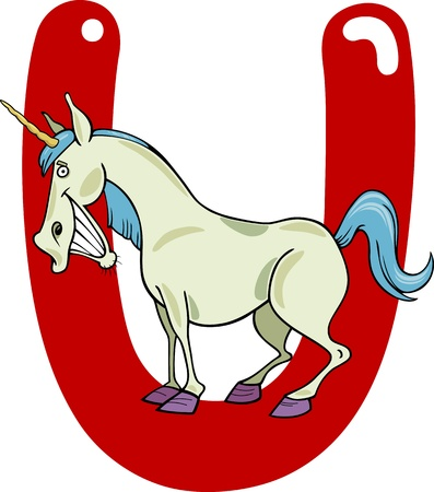 cartoon illustration of U letter for unicorn Vector