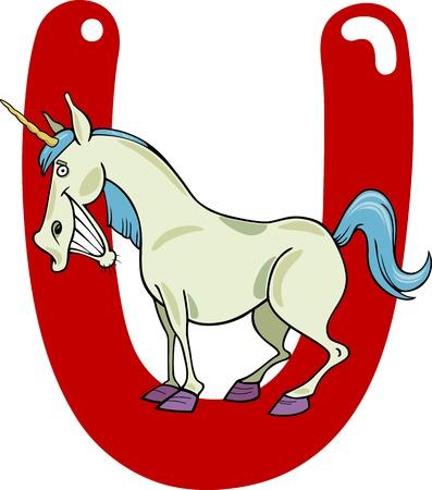 kids abc: ilustraci�n de dibujos animados de la letra U de unicornio