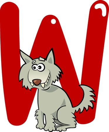 cartoon illustration of W letter for wolf Vector