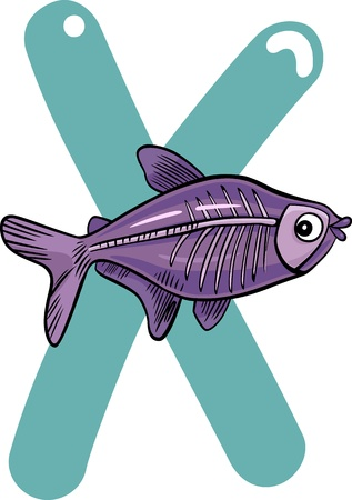 spelling book: cartoon illustration of X letter for x-ray fish