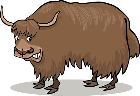 yak: cartoon illustration of asian yak bull Illustration