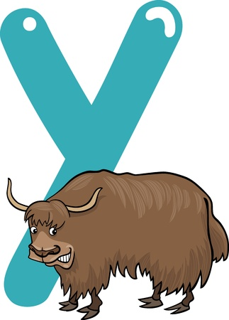cartoon illustration of Y letter for yak Vector