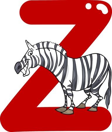 animal species: cartoon illustration of Z letter for zebra