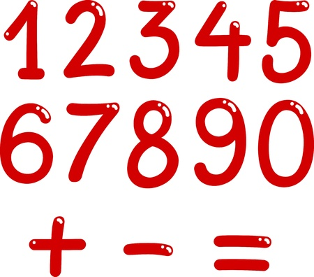 sign equals: illustration of numbers from zero to nine and math symbols