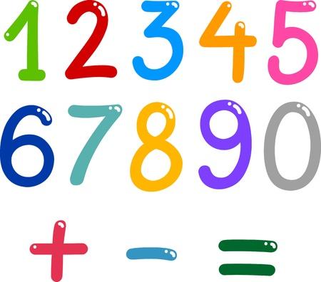 Ilustración de números del cero al nueve y símbolos matemáticos Ilustración de vector