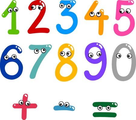 rekensommen: illustratie van de getallen van nul tot negen en wiskundige symbolen Stock Illustratie