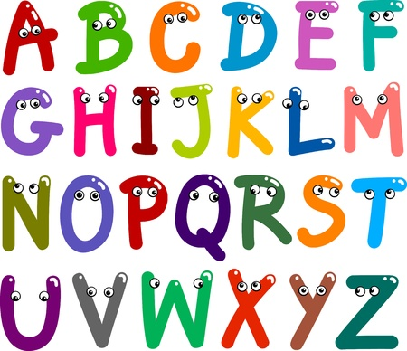 preliminary: illustration of funny Capital Letters Alphabet for education Illustration