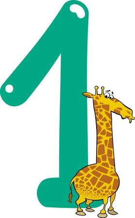 numero uno: ilustración de dibujos animados con el número uno y la jirafa Vectores