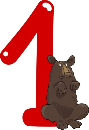 number of animals: cartoon illustration with number one and bear Illustration