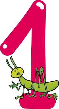number of animals: cartoon illustration with number one and grasshopper