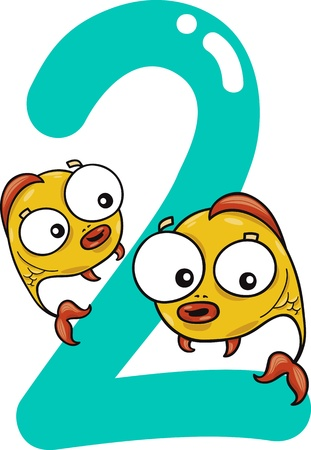 cartoon illustration with number two and fish