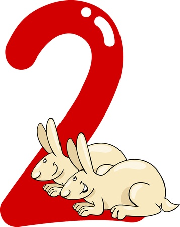 number two: cartoon illustration with number two and bunnies Illustration
