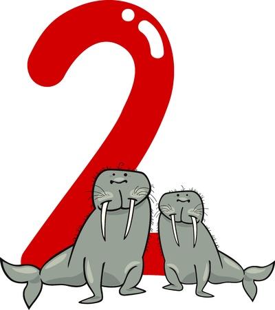 rekensommen: cartoon illustratie met nummer twee en walrussen