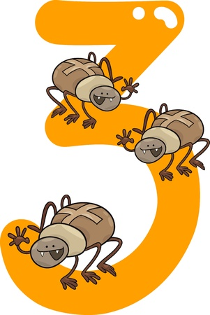cartoon illustration with number three and spiders Vector