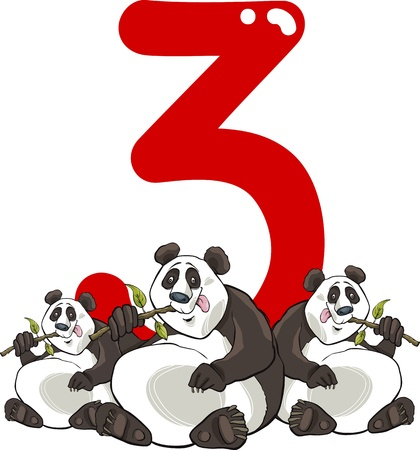 number of animals: cartoon illustration with number three and panda bears
