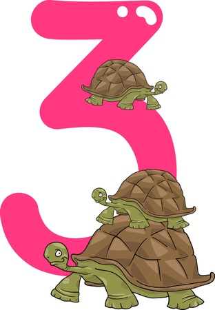 three animals: cartoon illustration with number three and turtles Illustration