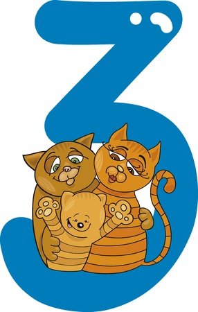 number three: cartoon illustration with number three and cats