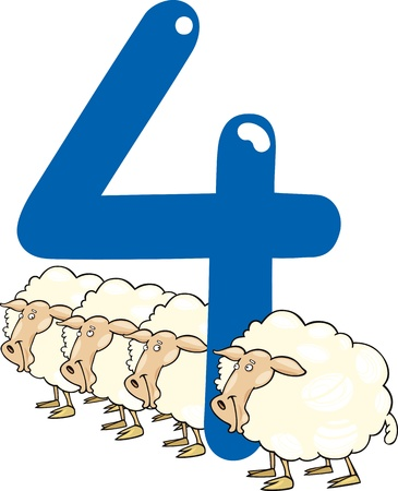 four species: cartoon illustration with number four and sheeps Illustration