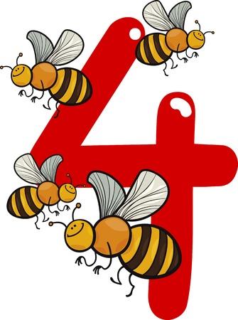 abeja caricatura: ilustración de dibujos animados con el número cuatro y las abejas Vectores