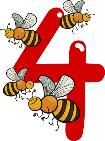 čtyři lidé: kreslené ilustrace s číslem čtyři a včel