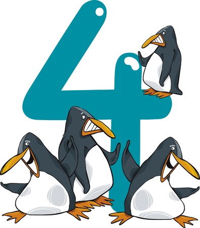 cartoon illustration with number four and penguins Vector