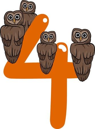 cijfer vier: cartoon illustratie met nummer vier en uilen