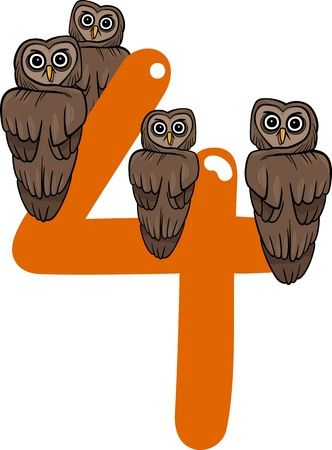number four: cartoon illustration with number four and owls
