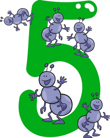 number 5: cartoon illustration with number five and ants