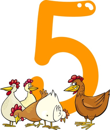 number five: cartoon illustration with number five and hens Illustration