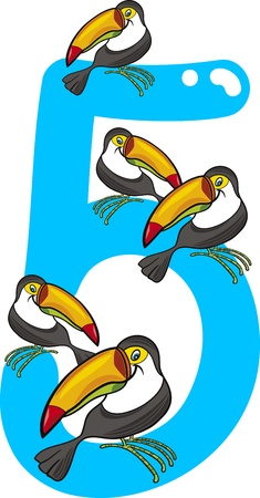 numerical: cartoon illustration with number five and toucans Illustration