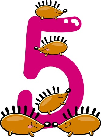 numeric character: cartoon illustration with number five and hedgehogs